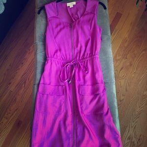 Fun and Flirty Hot Pink Drawstring Dress